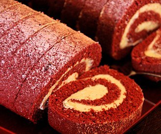 Swiss roll - A home-made red velvet swiss roll with buttercream filling