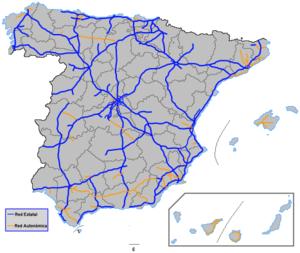 carte espagne autoroute