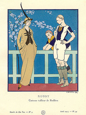 Pre-sportswear tailormade by Redfern. Bon Ton, April 1914. Redfern suit and rugby players 1914.jpg