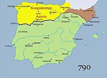 Estensione del Regno delle Asturie, in giallo, nel 790