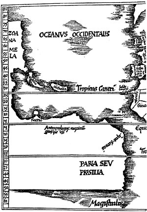 Gregor Reisch - A portion of a map from the 1515 edition of Margarita philosophica. From Narrative and critical history of America, Volume 2 by Justin Winsor.