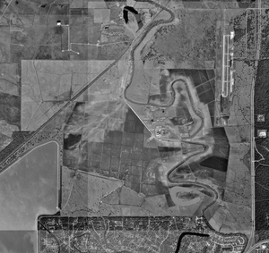 Wayne Scott Unit - Aerial view of the Retrieve Unit and Brazoria County Airport, January 23, 1995 - U.S. Geological Survey