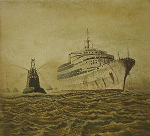 SS Canberra - A painting of SS Canberra's return to Southampton from the Falklands