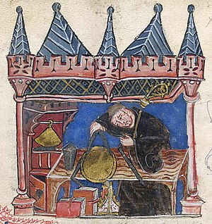 Astrology and astronomy - Astrologer–astronomer Richard of Wallingford is shown measuring an equatorium with a pair of compasses in this 14th-century work.