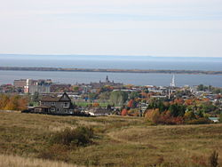 Skyline of Rimouski with the St. Lawrence River in the background