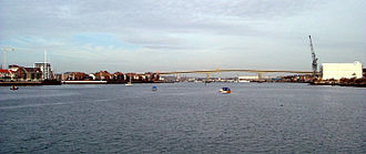 River Itchen, Hampshire - The tidal river – the Itchen Bridge can be seen in the distance.