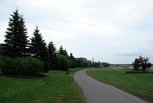 Riverfront Trail, Greater Moncton - A paved portion of trail, downtown Moncton
