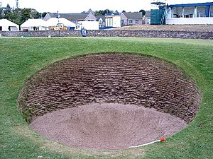 "Old Course at St Andrews - The ""road bunker"" at the 17th hole."