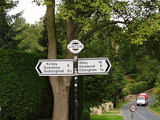 Linton, West Yorkshire - Road sign with grid reference