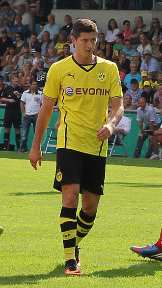 Robert Lewandowski - Lewandowski playing for Dortmund in August 2013