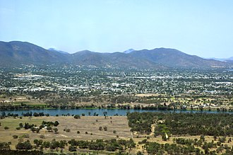 Rockhampton - View across north Rockhampton from the west with the Fitzroy River in the foreground and the Berserker Range in the background, 2009