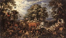 Forest filled with animals, including a dark dodo in the lower right