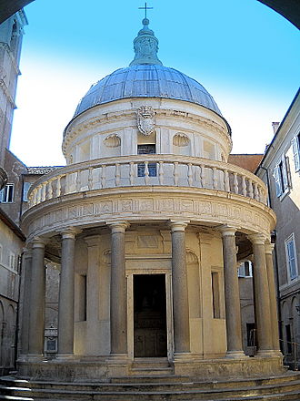 Renaissance architecture - Tempietto di San Pietro in Montorio, Rome, 1502, by Bramante. This small temple marks the place where St Peter was put to death.