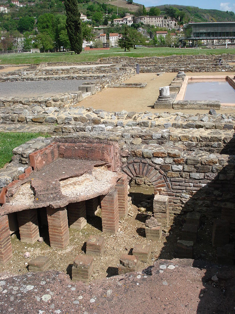 Gallo-Roman site of Saint-Romain-en-Gal with heating system with hot air circulation under the floor