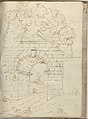 Roman Arch with Road Below and Trees Above (Smaller Italian Sketchbook, leaf 34 recto) MET DP265152.jpg