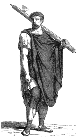 un romain vêtu d'un manteau et portant les faisceaux.