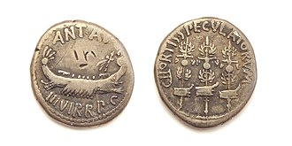 Cohort (military unit) - Denarius, struck under Mark Antony in honor of the cohors speculatorum