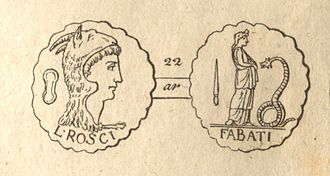 Lucius Roscius Fabatus - A coin bearing the name of Lucius Roscius Fabatus. It represents on the obverse the head of Juno Sospita, and the reverse refers to the worship of that goddess at Lanuvium.