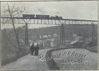 """Rosendale Trestle - A depiction of two women walking under the trestle, in the area known as """"Dead Man's Stretch"""""""