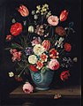 Roses, tulips, carnations an iris and other flowers in a Chinese transitional blue and white jardiniere with moths and other insects on a ledge.JPG