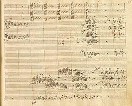 """Rossini: Otello, Akt II, Terzett Desdemona – Otello – Iago, Detail: """"...non cangia di sembiante..."""" Manuskript von ca. 1850, Biblioteca del Conservatorio San Pietro a Majella di Napoli, S. 122 (Quelle: Wikimedia)"""