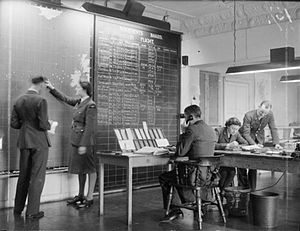 RAF Prestwick - Personnel at work in the Operations Room of the Atlantic Ferry Service at RAF Prestwick.