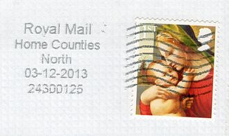 Home counties - The term Home Counties North in a 2013 postmark on a letter posted from the Luton, Bedfordshire, area.