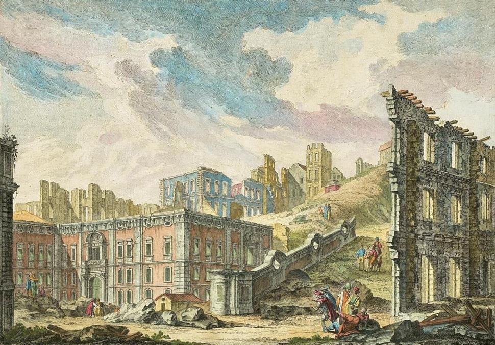 Ruinas da Pra%C3%A7a da Patriarcal ap%C3%B3s o Terramoto de 1755 - Jacques Philippe Le Bas, 1757