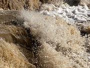Turbid creek water caused by heavy rains.