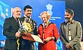 S.S. Rajamouli and the Minister of State for Information & Broadcasting, Col. Rajyavardhan Singh Rathore presented the ICFT UNESCO Gandhi award to Director Mustafa Kara for the film 'Cold of Kalander'.jpg