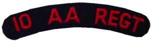 SADF 10 Anti Aircraft Regiment shoulder title