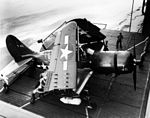 SB2C-5 Helldiver on elevator of aircraft carrier 1945.jpg