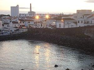 Lagoa, Azores - Sunset over the skyline in Nossa Senhora do Rosário, from Porto dos Carneiros