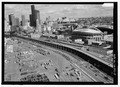SOUTH SECTION OF VIADUCT AS IT PASSES ALONG QWEST FIELD. - Alaskan Way Viaduct and Battery Street Tunnel, Seattle, King County, WA HAER WA-184-8.tif