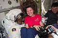 STS-133 ISS-26 Alvin Drew jokes with Cady Coleman.jpg