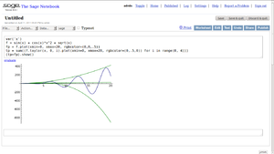 A screenshot of Sagemath working.
