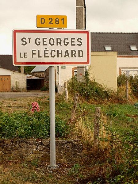 Saint-Georges-le-Fléchard (Mayenne, France); panneau d'agglomération