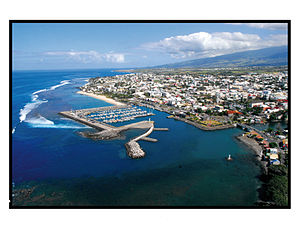 Saint-Pierre, Réunion - An aerial view of part of Saint-Pierre and its port