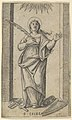 Saint Cecilia standing holding a palm of martyrdom in her right hand, from the series 'Piccoli Santi' (Small Saints) MET DP853505.jpg