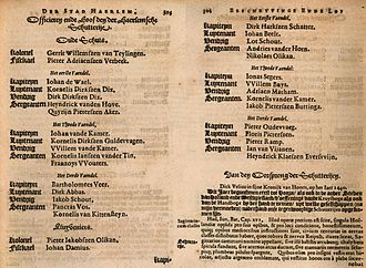 Haarlem schutterij - Pages from Samuel Ampzing's description of Haarlem listing the officers of the schutterij in 1628
