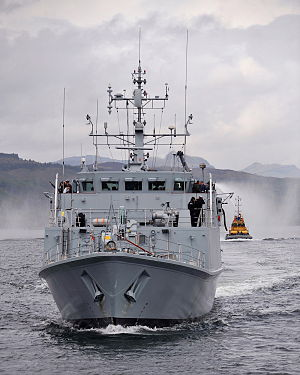 Sandown Class Mine Hunter HMS Ramsey Departs HMNB Clyde for the Middle East MOD 45152718.jpg