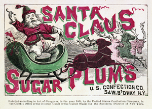 Sugar plum - Confection label, showing Santa Claus on sleigh with reindeer (1868)