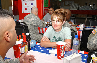 Governorship of Sarah Palin - Palin in Kuwait visiting soldiers of the Alaska National Guard, July 24, 2007.