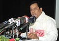Sarbananda Sonowal addressing a press conference, regarding the 12th South-Asian Games, to be held in Assam and Meghalaya on February 06-16, 2016, in Guwahati on October 27, 2015.jpg