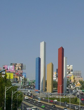 Luis Barragán - Torres de Satélite, Mexico City (1957–58), in collaboration with Mathias Goeritz