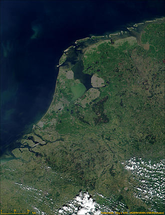 Outline of the Netherlands - An enlargeable satellite image of the European Netherlands