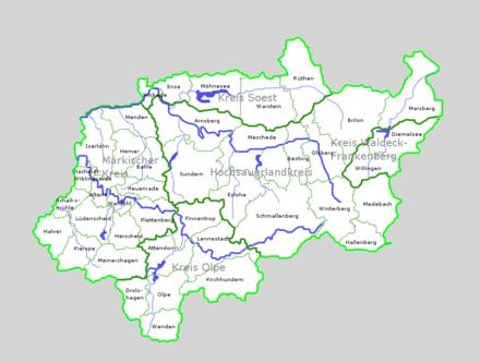 Sauerland Karte.Sauerland Reisefuhrer Auf Wikivoyage