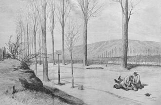 Guillaume Schnaebelé - Illustration: Schnaebelé is dragged by his assailants to the German (left) side of the border. Note the border marker on left edge of the road marking the boundary between the French road and German railway embankment.
