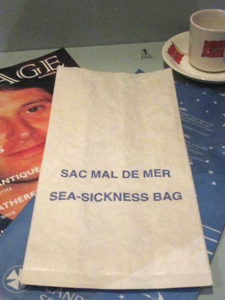 Special bags are often supplied on boats for sick passengers to vomit into. Sea-sickness bag, Merseyside Maritime Museum.png