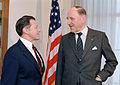 Secretary of Defense Caspar W. Weinberger meets with Secretary General of NATO Luns in the Pentagon 1983.jpg